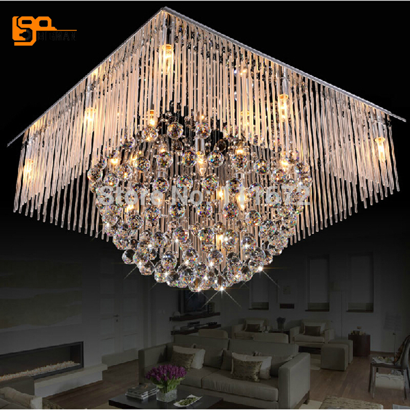 Contemporary Living Room Lighting: New Square Crystal Lamp Modern Chandelier LED Light