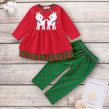 Newborn Baby Kids Christmas Sets  Long-sleeved Dress+ Pants 2Pcs Set Girls Clothes with Quality Assurance