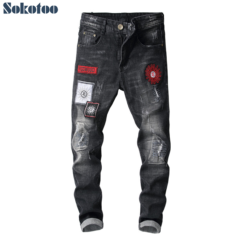 Sokotoo Men's Fashion Patches Embroidery Black Denim Jeans Patchwork Embroidered Skinny Pants
