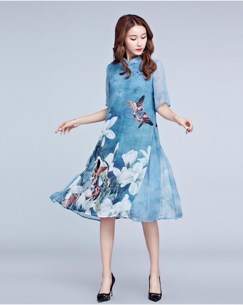 Élégant tempérament imprimer 2018 printemps nouvelle grande taille femmes col montant à cinq points manches imprimé soie violet bleu robe m-xxxl