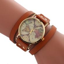 2017 Relógios das Mulheres Moda Casual Quartz Relógio de Pulso Brown PU LEATHER Strap Pulseira Relógios Ladies Relogio feminino Mapa Do Mundo
