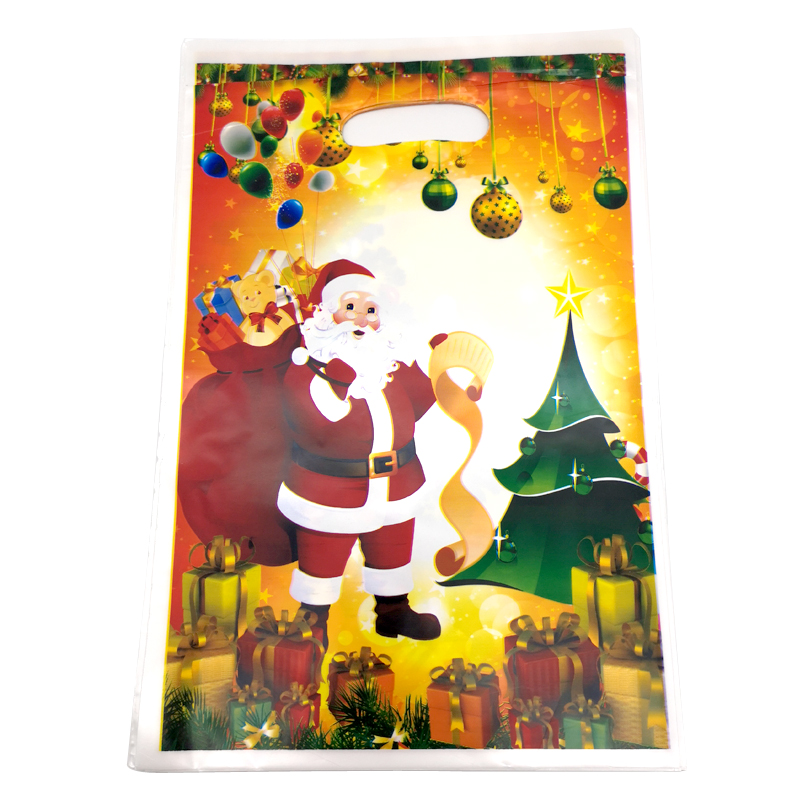 10PCS Kids Favors Decoration Merry Christmas Party Santa Claus Theme Plastic Gifts Bags Events Party Christmas Tree Loot Bags