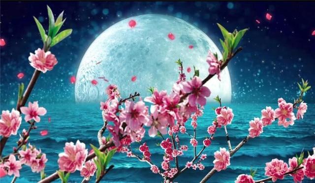 5d diamond embroidery diamond moonlight flower scenery square diy