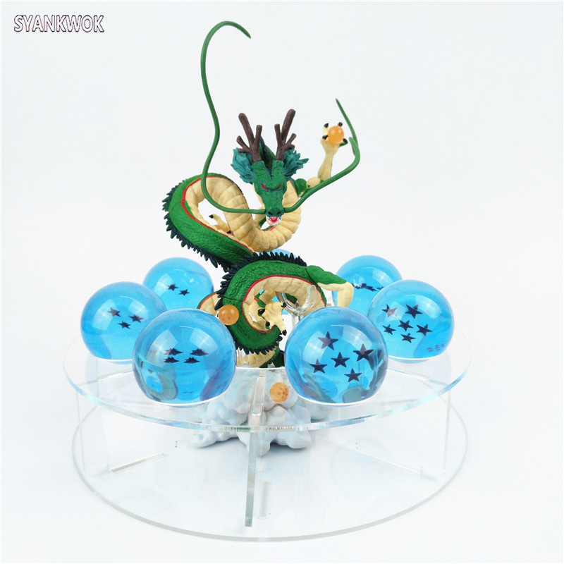 New Dragonball Figures Dragon ball z Toy Action Figures dragon shenron + 7 crystal balls 4.2cm + 1 shelf brinquedos Collection