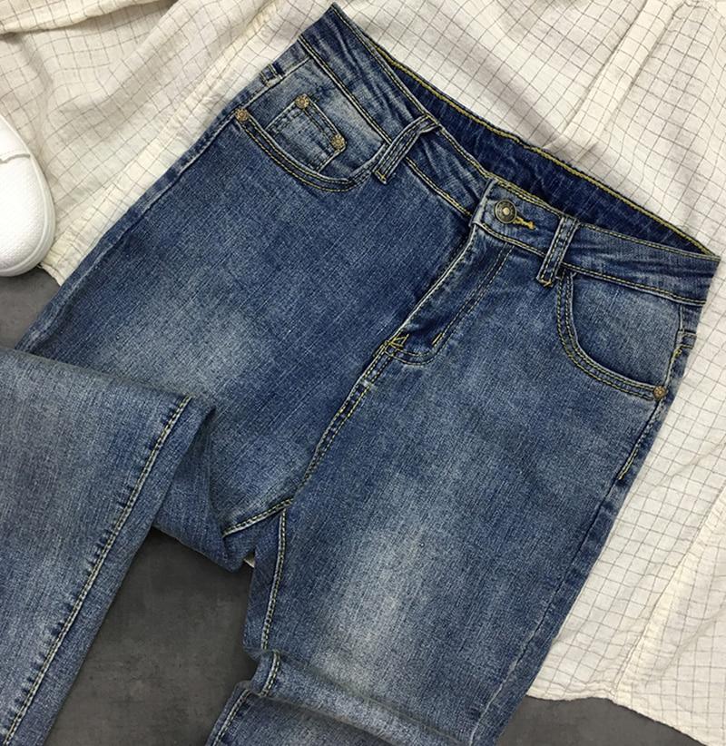 Grande Blue Décontracté Coréenne Chic Pantalon Z913 Mode Jeans Cheville Long Pour Filles Longueur Solide Doux Taille Maigre Femmes Couleur Poches HqZA1wB