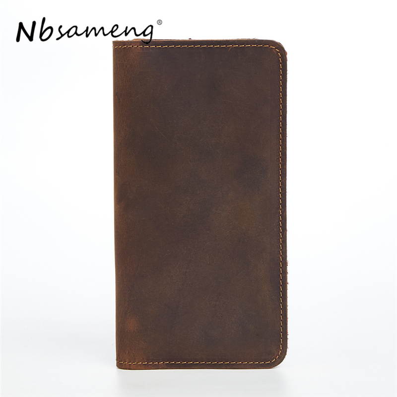 NBSAMENG New Arrival 2017 Genuine Cowhide Leather Men Long Wallets Fashion Purse With Card Holder Vintage Wallet Clutch Bag 2017 new cowhide genuine leather men wallets fashion purse with card holder hight quality vintage short wallet clutch wrist bag