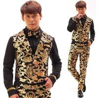 Black Gold Sequins Embroidery Vintage Men Vest Set Nightclub Male Singer Stage Wear Individuality Unique False Pocket Costume