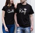 Uwback 2017 Новый Летний Король Королева Футболка мужская Смешно лето Тис Плюс Размер 3XL О-Образным Вырезом Топы Пара футболки CAA403