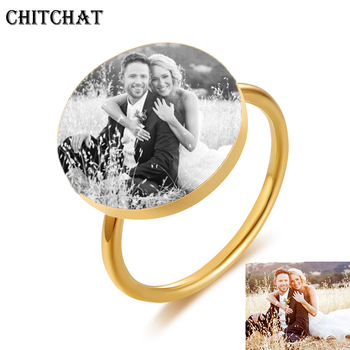 Customized Rings For Woman Engrave Name Photo Date Ring Stainless Steel Round Signet Rings For Family Wedding Personalized Gifts uny ring 925 sterling silver mother customized engrave rings family heirloom ring anniversary personalized love birthstone rings