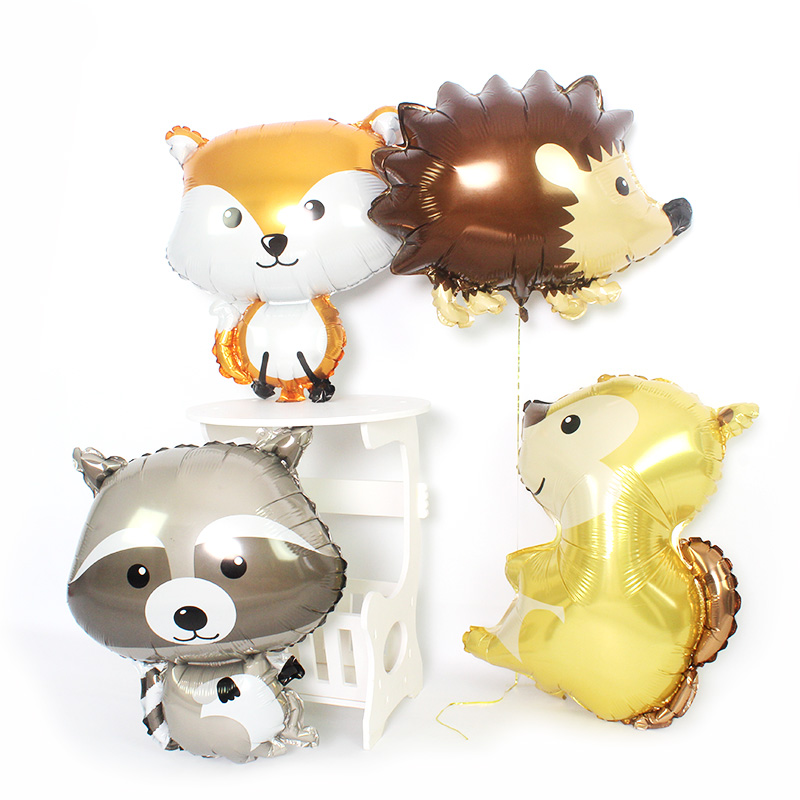 Woodland Animal Helium Balloons For Birthday Party Supplies Fox Hedgehog Squirrel Raccoon Foil Ballon Baby Shower Party Supplies