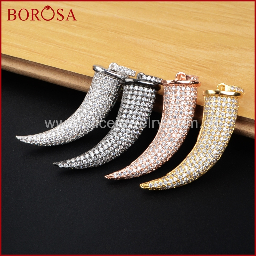 BOROSA Micro Pave CZ Cubic Zirconia Crystal Mammoth <font><b>Tooth</b></font> Pendant for Necklace,Fashion <font><b>Horn</b></font> CZ Pendant Multicolor Jewelry WX038 image