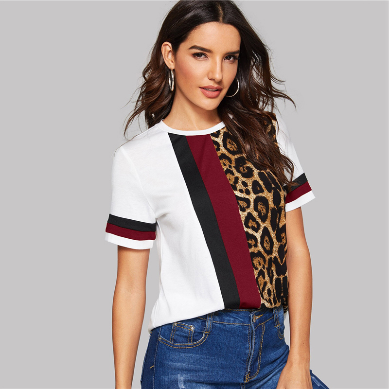 SHEIN Color Block Cut-and-Sew Leopard Panel Top Short Sleeve O-Neck Casual T Shirt Women 19 Summer Leisure Ladies Tshirt Tops 17