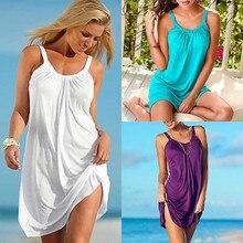 Женское летнее пляжное платье без рукавов, Женский вечерний короткий пляжный Сарафан