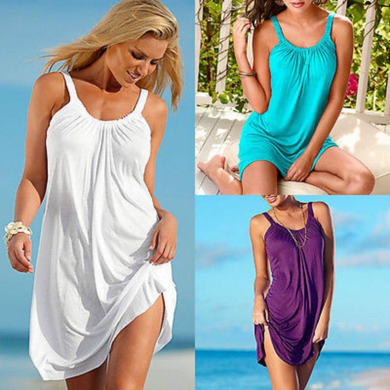 Women's Summer Beach Dress Sleeveless Women Evening Swimear Short Lady Beachwear SunDress