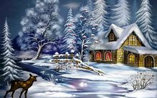 art painting fantasy snow christmas evening deer house trees Home Decoration Canvas Poster