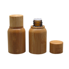 2ps/lot 10ml bamboo wood Oil Refillable bottle , cosmetic packaging Empty Amber glass Bottle Refuse
