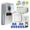 Envío Libre POE Inalámbrica Wifi IP Cámara Timbre para el Teléfono Vista remota de Acceso RFID puerta de Intercomunicación de Vídeo + Interior de Metal Al Aire Libre campana