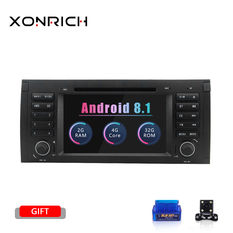 1 din Android 8.1 Car DVD Player For BMW X5 E53 E39 GPS Stereo Audio Navigation Multimedia Screen Head Unit dvd automotivo 2 GB