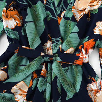 ROMWE Fluted Sleeve Floral Print Surplice Romper With Belt Women Summer Vocation Three Quarter Floral V neck Romper 4