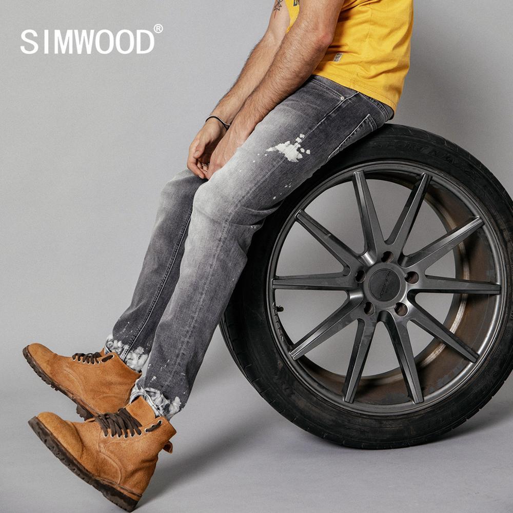 SIMWOOD 2020 Spring New Fashion Jeans Men Retro Slim Fit Paint Splatter Hip Hop Streetwear Ankle-length Denim Trousers  190108