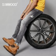 Simwood 2020 春の新ファッションジーンズ男性レトロスリムフィットペイントスプラッターヒップホップストリート足首までの長さのデニムパンツ 190108