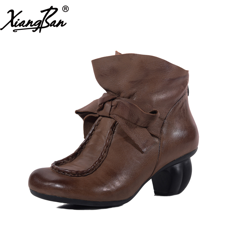 2018 spring autumn winter women ankle boots leather elegant handmade ladies boots Xiangban black women ankle boots handmade vintage medium heel round head shoes elegant boots xiangban