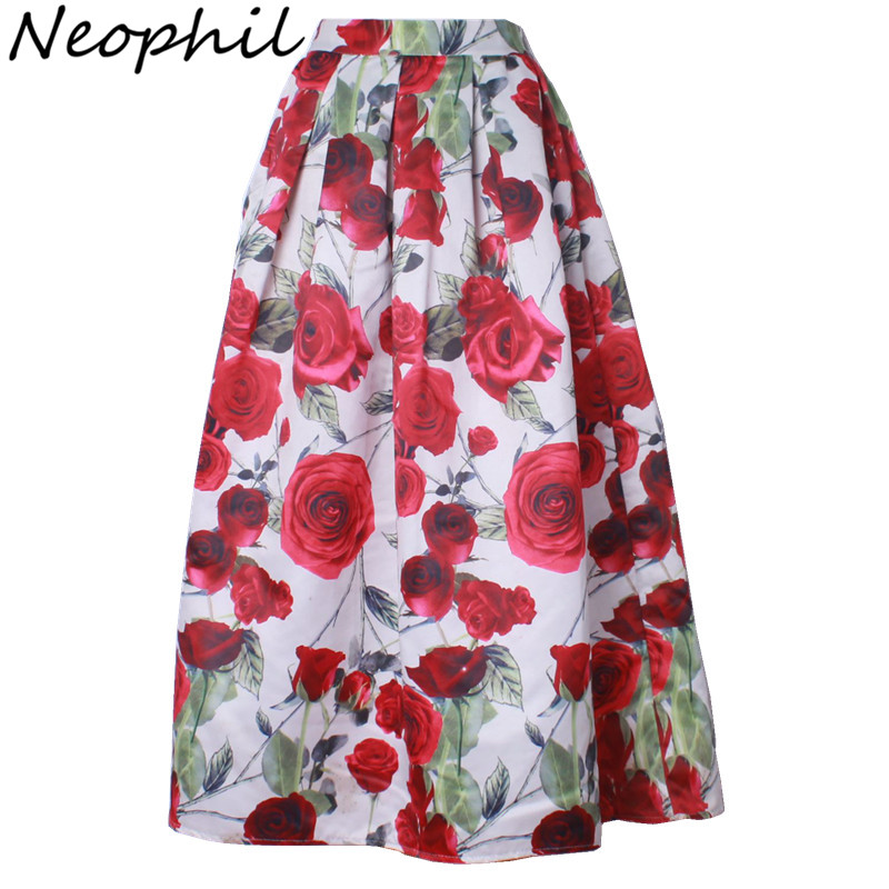 Neophil 2020 Luxury Rose Flower Floral Print Maxi Long Pleated Skirts Women Muslim 100cm Winter A Line Flare Jupe Longue MS08001