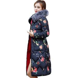 Image 1 - 両側身にすることができ2019新到着の女性の冬毛皮のフード付きでロング女性コート生き抜くプリントパーカー