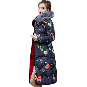 Image 1 - Both Two Sides Can Be Wore 2019 New Arrival Women Winter Jacket With Fur Hooded Long Padded Female Coat Outwear Print Parka