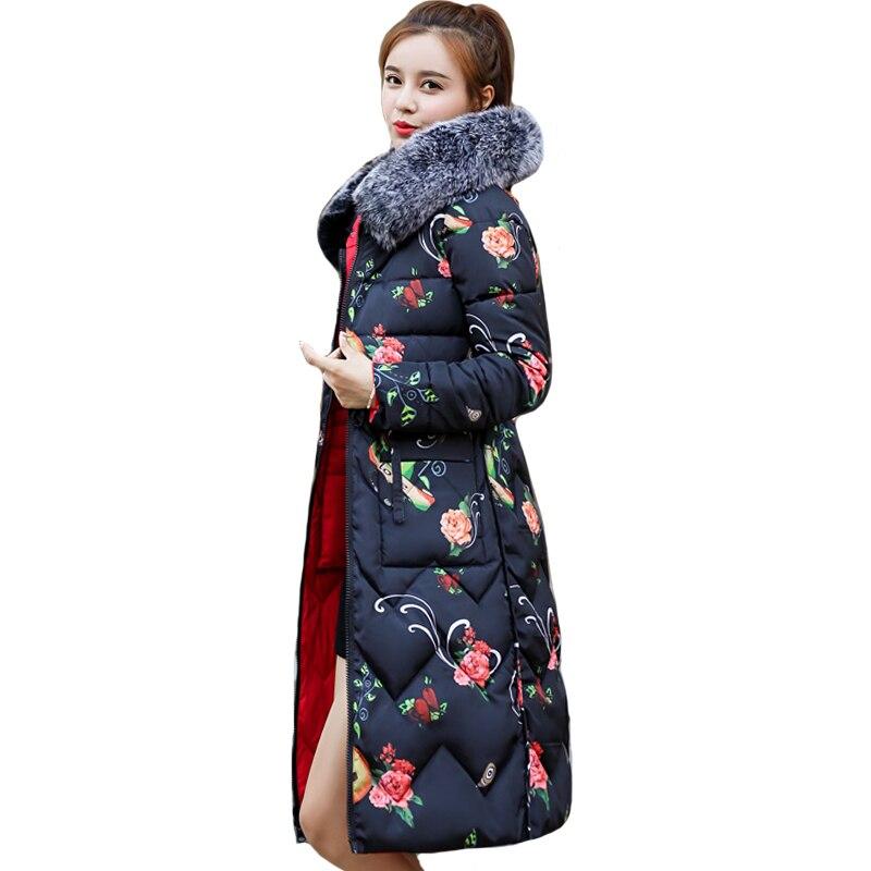 Les deux côtés peuvent être portés 2019 nouveauté femmes veste d'hiver avec fourrure à capuche longue rembourré femme manteau Outwear impression Parka