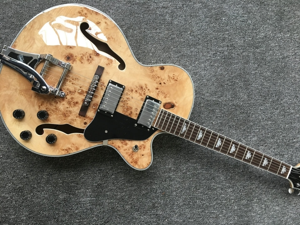 Jazz Semi Hollow Body Electric Guitar,Thick Archtop Guitar, White Pearl Binding, chrome hardware jazz electric guitar