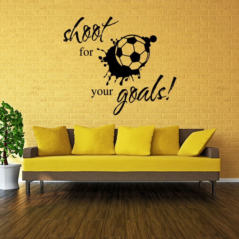 Wall Sticker Quotes Shoot for Your Goals Soccer Football Living Room ...