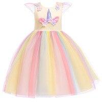 314946db14 ... kwiat sukienka księżniczka Party suknia balowa dzieci tęczowa opaska  jednorożec sukienki ubrania dla dziecko Cosplay Vestidos. Girls Elegant  Wedding ...