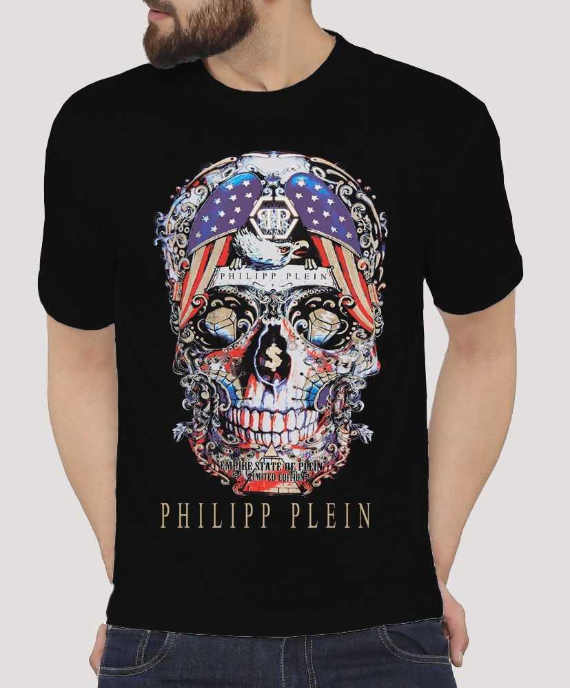 f637e146a249c С принтом 1 Филипп 1 Plein череп Графический 100% хлопок Unoficial Футболка  Высокое качество хлопок
