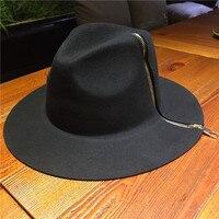 סתיו וחורף כובע צמר טהור רוכסן כובע כובע האופנה קוריאה גברים צעירים ונשים חמים גדול שולי כובע ג 'אז
