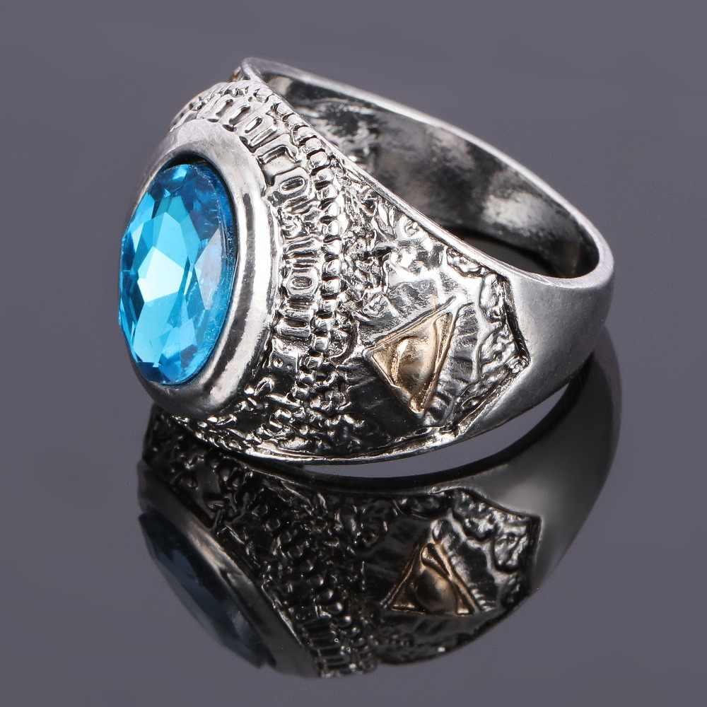 HNSP VINTAGE Sky Blue Zircon หินรอบแหวนนิ้วมือสำหรับชายบุคลิกภาพเครื่องประดับ
