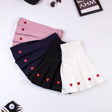 2019 Hot Sale Preppy Style Women Cute Skirts Love Embroidery Pleated High Waist Skirt Student Female A-line