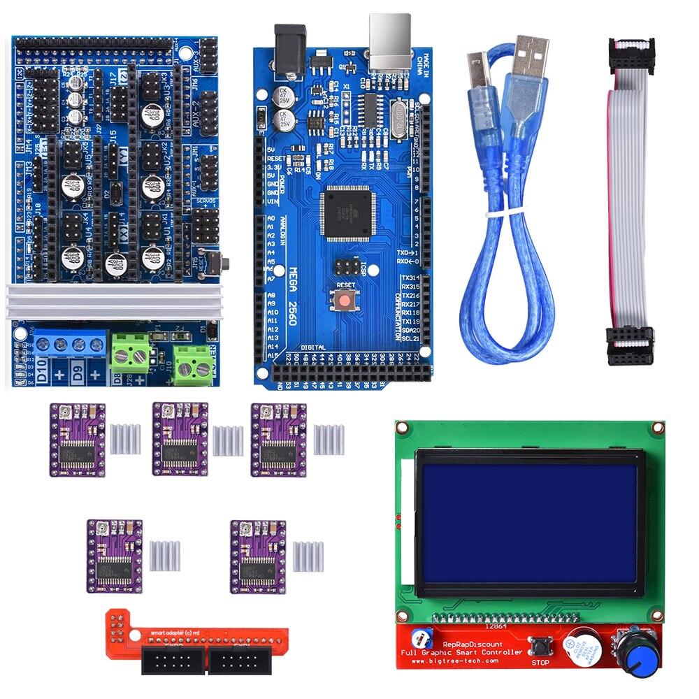 BIQU  Mega 2560 R3  RAMPS 1.4 control panel  5pcs DRV8825 Stepper