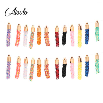 Aiovlo 10pcs/lot  Dazzling Soft  Earrings Charms Tassels Pendants for DIY Handmade Phone Keychain Jewelry Making Accessories