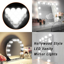 DIY Hollywood Style Makeup Mirror Led Light with Touch Dimmer Power Supply Led Bulb Chain Vanity Mirror Lamp for Dressing Table 14 vanity led light bulbs kit cool white hollywood lamp with dimmer power supply sticky tape for dressing table makeup mirror