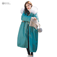 Large Fur Collar Women Winter Coat Leisure Loose Down Cotton Outerwear Solid Color Oversize Winter Jackets