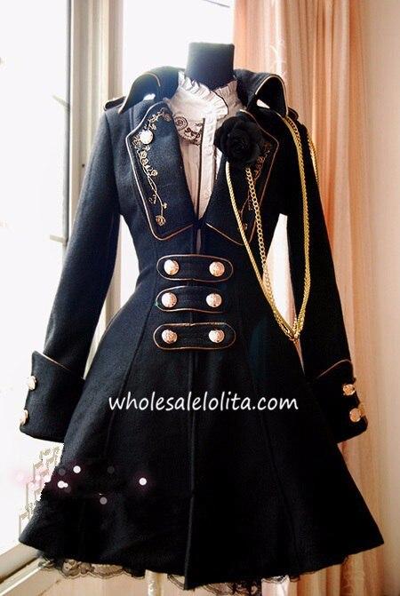 Винно-красный воротник с лацканами армейская униформа Стиль зима Лолита пальто lol игра косплей
