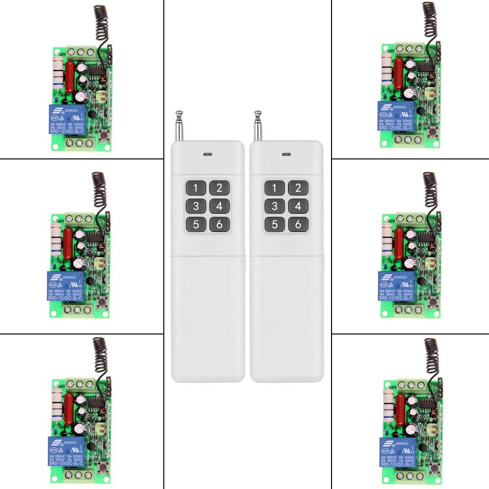 3000m AC 220V 110V 1 CH 1CH RF Wireless Remote Control Switch System, 2 X 6CH Transmitter + 6 X Receiver,Toggle,315/433.92 3000m ac 220v 110v 1 ch 1ch rf wireless remote control switch system 8ch transmitter 8 x receiver toggle momentary 315 433 92