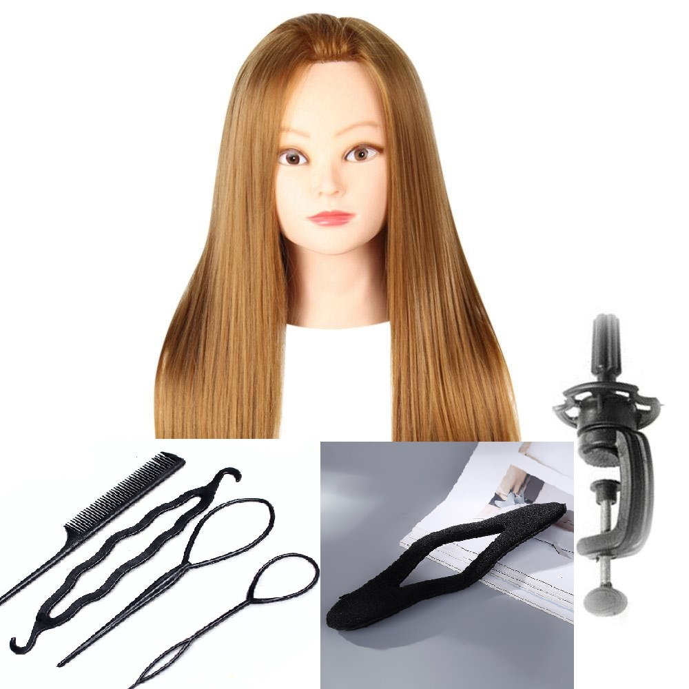CAMMITEVER Bionda Capelli Mannequin Testa Con 2 Set di Strumenti Paspop Manichino Per Le Ragazze Donna Femminile Hairstyling Pratica Regali Gratis