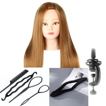 CAMMITEVER Blonde Hair Mannequin Head With 2 Sets Tools Paspop Manikin For Girls Female Woman Hairstyling Practice Free Gifts(China)