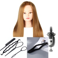 CAMMITEVER Blonde Hair Mannequin Head With 2 Sets Tools Manikin For Girls Female Woman Hairstyling Practice Free Gifts