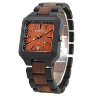 BEWELL Mens Fashion Wood Watch Rectangle For Sale Men Branded Wooden Watch Men Auto Date Wristwatch