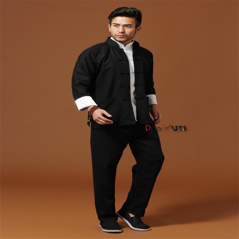 Promotion Black Chinese Men Kung Fu Uniform Cotton Linen Tai Chi Wu Shu Suit Vintage Button Clothing M L XL XXL XXXL