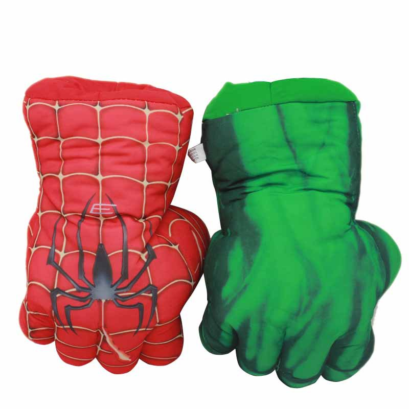 The Avengers Superhero Plush Gloves 25cm Soft Peluche Stuffed Spider Man Incredible Hulk Smash Hands Anime Figurines Kids Toys hot sale 12cm foreign chavo genuine peluche plush toys character mini humanoid dolls