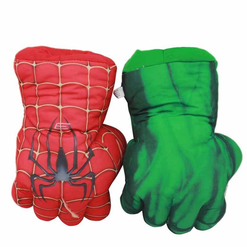 The Avengers Superhero Plush Hulk Gloves 25cm Soft Peluche Stuffed SpiderMan Incredible Hulk Hands Anime Figurines Kids Toys